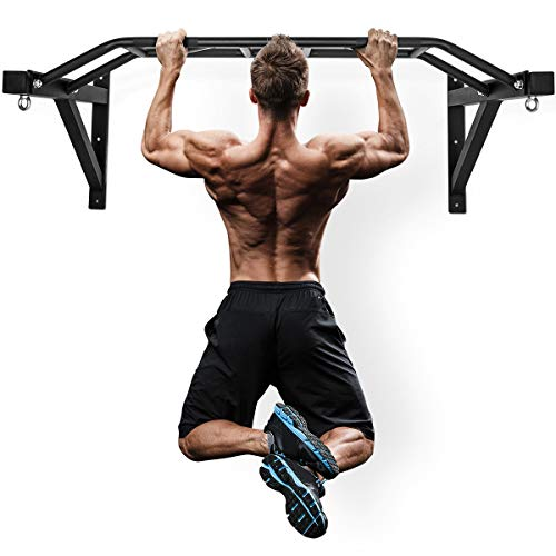 """Wall Mount Pull-Up Bar - 47"""" Multi-Grip Chin-Up Station with Hangers for Punching Bags, Power Ropes for Home Gym Strength Training Equipment (Black.)"""
