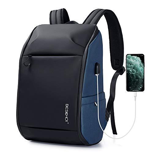Beschoi Laptop Rucksack 17,3 Zoll Schulrucksack wasserdicht Tagesrucksack mit USB-Ladeanschluss für Arbeit Schule Wandern Reisen Camping