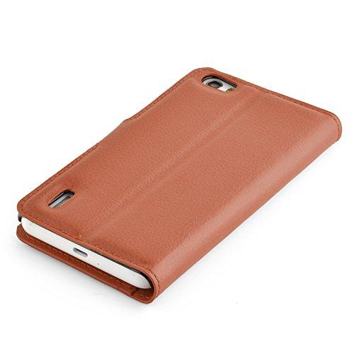 Cadorabo Hülle für Honor 6 - Hülle in Schoko BRAUN – Handyhülle mit Kartenfach und Standfunktion - Case Cover Schutzhülle Etui Tasche Book Klapp Style - 5