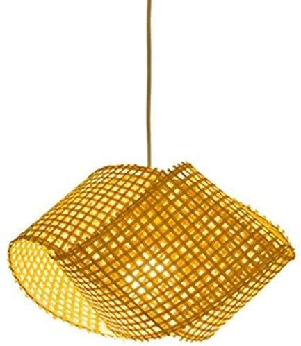 Popertr E27 Natural Bamboo Chandelier Rattan Wicker DIY Weave Hanging Light Bamboo Woven Bamboo Art Pendant Lamp Japanese Tatami Dining Room Pendant Lamp