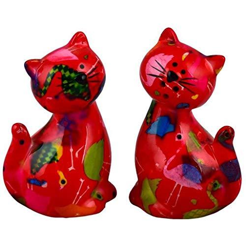 Pomme Pidou | Salz- und Pfefferstreuer Keramik | Katze Caramel | Small | Rot | Keramik Streuerset und 2 sehr schöne Dekorationsstücke | inkl. GRATIS Geschenkbox