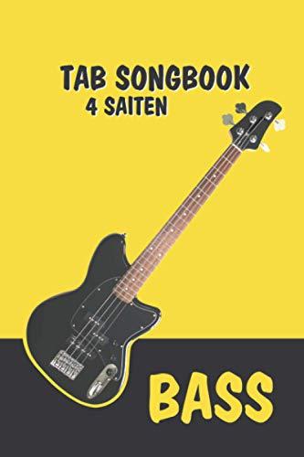 Praktisches TAB Notizbuch, Heft, Block für Bassisten/Bass Gitarre 4 Saiten – Lernen, Komposition und Songwriting: Mein Songbook: 120 Seiten TAB Linien ... und komponieren – für Schüler und Songwriter