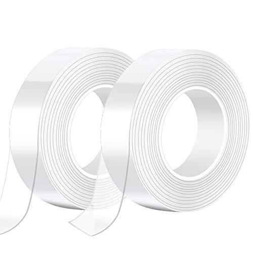 qipuneky 5M Nano Tape,Cinta Transparente Doble Cara multipropósito y Reutilizables,Transparente Traceless Grip Tape para Hogar, Dormitorio y Oficina (blanco)