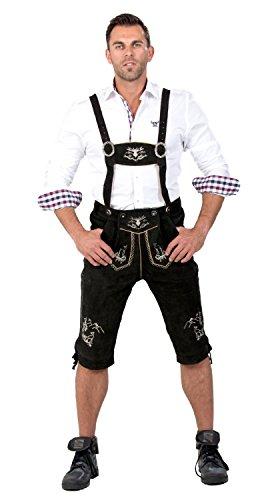 Almwerk Herren Trachten Lederhose Kniebund Modell Platzhirsch, Farbe:Schwarz;Lederhose Größe Herren:48