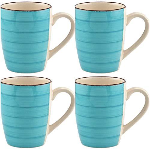 Coffee Mug Ceramic Set Of Four Turquoise Blue Royal Norfolk With Swirl Design