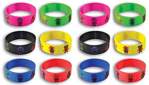 Happy Deals~ 12 | Robot Bracelets | Robot Theme Party Favors and prizes | Bright Colors | 1 inch Wide Bands