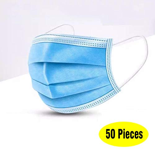 Big Save! (50 Pieces) Dust Protection, Disposable Face No Breathing Valve, FDA certific, Thick 3Ply