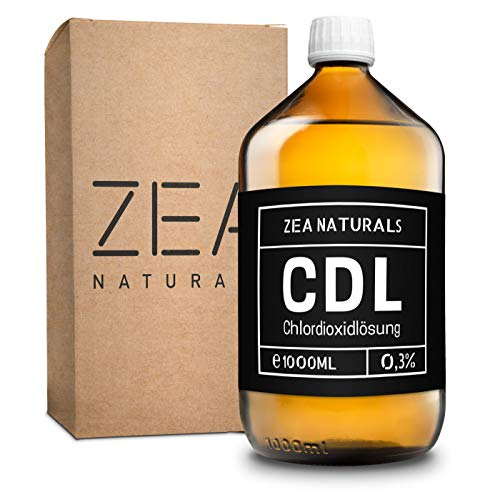 ZEA Naturals® Chlordioxid Lösung 0,3% (1000ml) - CDS - CDL - 1000 ml Chlordioxid in Braunglasflasche + Gratis HDPE Pipette – Chlordioxidlösung Made in Germany