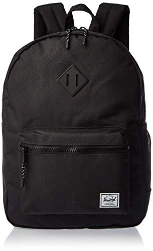 Herschel Kid's Heritage Backpack, Tonal Black / Rubber, Youth X-Large 22L