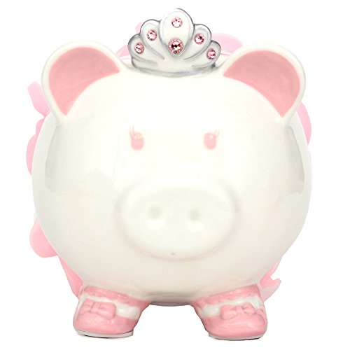 FAB Starpoint Swarovski with Crown Princess Porcelain Piggy Bank for Kids (Pink)