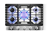 "FOTILE GLS30501 30"" Stainless Steel 5-Burner Gas Cooktop, Tri-Ring 21,000 BTUs Center Burner with Flame Failure Protection Removable Grates and Installation/LP Kit"