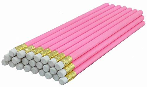 ezpencils - Pink Barrel Pencils with White Eraser - 36 pkg - Non-Smudge Eraser - # 2 HB Lead - Unsharpened - Non-Branded