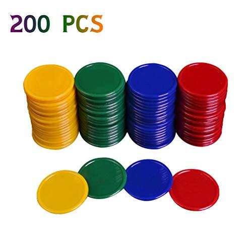 MUCHEN SHOP Zählen Spielchips,Kunststoff Zähler 200er Pack Farbige Bingo Chips Farbzähler für Mathe Mathematik Oder Spiele Lernressourcen 3.8cm