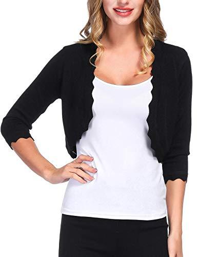 KANCY KOLE Women's Classic 3/4 Sleeve Shrug Open Front Knit Cropped Bolero Cardigan Sweaters (Black,M)
