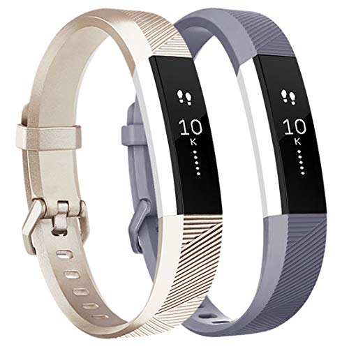 Tobfit Waterproof Sport Bands Compatible with Fit bit Alta/Alta HR/Ace, Soft TPU Replacement Wristbands, Small, Champagne Gold/Gray