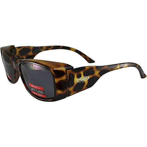 Global Vision RX-Z Motorcycle Safety Sunglasses Xylex Shiny Crystal Demi Frames and Temples Smoke Lenses ANSI Z87.1