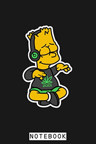 Bart Simpson Dr. Dre Beats Music Notebook: Diary, 6x9 120 Pages, Journal, Lined College Ruled Paper, Matte Finish Cover, Planner