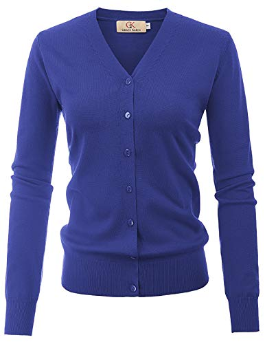 Women's Slim Fit Spring Cardigans Long Sleeve Open Front Sweater (XL,Royal Blue)