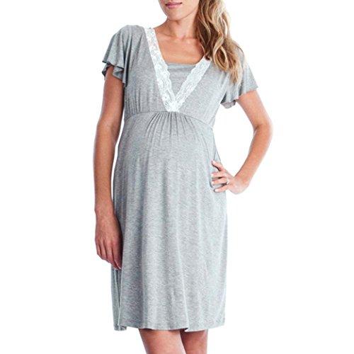 Gusspower Vestido de Lactancia Maternidad de Noche, Ropa Embarazadas Vestido Enfermería Mujer Manga Corta Vestido Pijama Verano Encaje (Gris, L2)