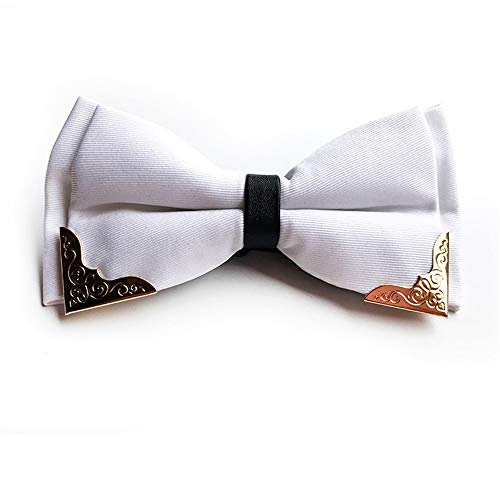 Tie Freizeit Verstellbare Metall Golden Wings der Männer Zwei Schichten Hals Fliege Fliege (Farbe : Weiß)