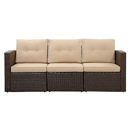 3-Seat Outdoor Patio Sofa, PE Rattan Wicker Sectional Couch Furniture Aluminum Frame with Cushions Lawn Balcony Poolside or Backyard (Brown/Beige)