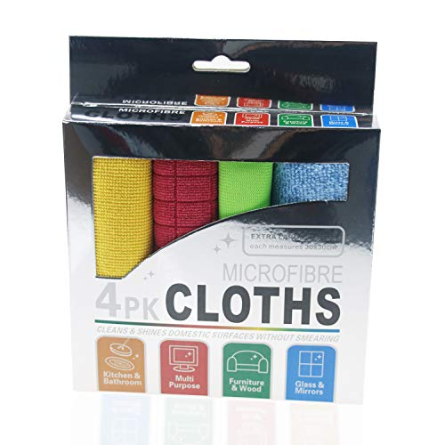 Lorpect 4 Colors 12X12inch Microfiber Cleaning Cloth Dust Rag Dust Cloths Cleaning Towels Multi-Functional Washable Reusable Multifunctional Rags