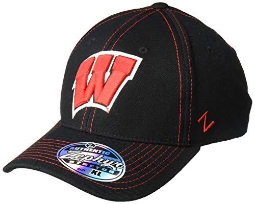 NCAA Zephyr Wisconsin Badgers mens Finisher Z-Fit Hat, Medium/Large, Black