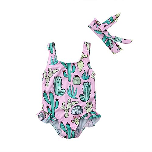 Verano cabritos del niño de la niña del traje de baño de una sola pieza de impresión de la flor del traje de baño de natación del bikiní traje de baño ropa de playa ( Color : Pink , Size : 0 to 6m )