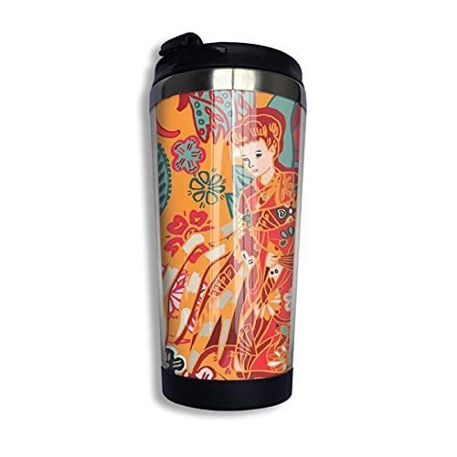 Ahdyr Japanese Yokai Jorogumo, Naranja, Hombres y Mujeres, Regalos de cumpleaños, Viaje, Taza de café aislada al vacío de Acero Inoxidable 304, 13,5 oz