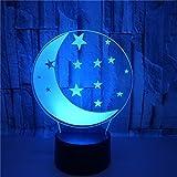 FREEZG lamparitas de noche dormitorio Luna estrellas niños dibujos animados Lámpara de Noche 3D de 7 Colores con Control Remoto Regalos de Cumpleaños para Niños y Adultos