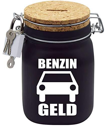Spardose Benzin-Sprit-Geld/Auto Motorrad Geld-Geschenk-Idee in Schwarzem Glas L