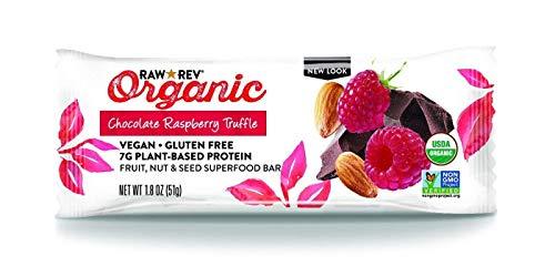 Raw Rev Organic Superfood Bar, Chocolate Raspberry Truffle, 1.8 Ounce Bar (Pack of 12) 7g of Protein, 4g of Fiber, Vegan, Raw, Organic, Plant-Based, Gluten-Free, Fruit, Nut, Seed Bars