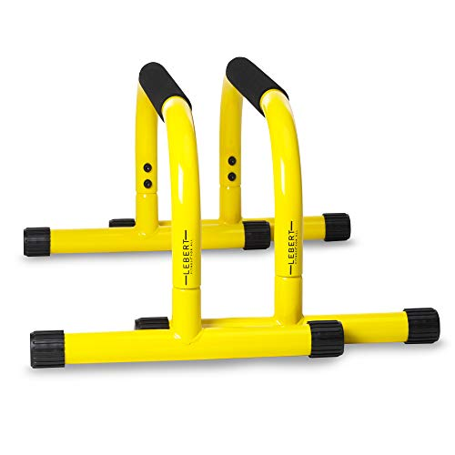 Lebert Fitness Parallette Push Up Bars Dip Station Stand - Perfect for Home and Garage Gym Exercise Equipment - Gymnastics, Calisthenics, Strength Training Parallel Bars for Men and Women - Yellow