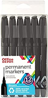 Office Depot Brand 100% Recycled Permanent Markers, Fine Point, Black, Pack of 12
