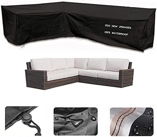 Enzeno Garden V-Shape Furniture Cover Waterproof, 420D Heavy Duty Oxford Fabric Outdoor Rattan Corner Sofa Cover with Waterproof Tape (220*220*87cm)
