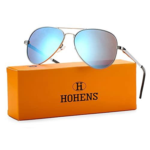 Polarized Aviator Sunglasses for Men Women, Premium Military Style Mirrored Sun Glasses UV400 Protection(Silve Frame/Blue Mirrored)