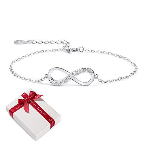 Damen Armband Zirkonia 925 Sterling Silber Schmuck für Frauen Mädchen,Infinity Unendlichkeit Symbol Unendlicher Liebe Armkettchen Armreif Armbänder Geschenk für Weihnachten Valentinstag Geburtstag