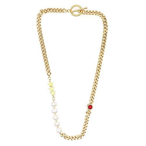EHDFS Collar de Perlas Blanco Barroco Collar de Perlas cultivadas de Agua Dulce 14K Collar de Perlas de Oro Femenino