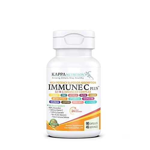 (90 Capsules), Quercetin 1,000mg, Vitamin C 1,000mg, Zinc 50mg, Vitamin D3 5,000iu, Selenium, Copper, Acerola, Ginger, Rutin, Bitter Orange, Rose Hips, Echinacea, Immune C Plus, 12 in 1 Immune Support