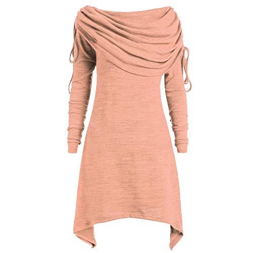 Alwayswin Damen Pullover Tuniken Weihnachten Vintage Lange Bluse Tops Foldover Kragen Solid Lange Sweatshirt Elegant Wild Langer Pullover Outwear Pulloverkleid Unregelmäßig
