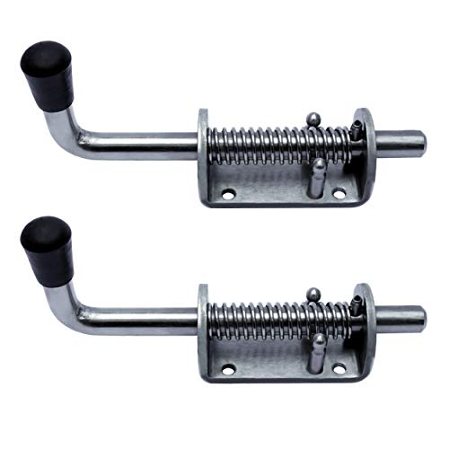 TCH Hardware 2 Pack Stainless Steel Heavy Duty Barrel Bolt Lock - Spring Loaded Latch Locking 6.5 Inch x 0.5 Rod with Grip - Gate Shed Door Tailgate Trailer Garage