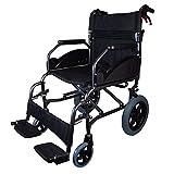 mobiclinic, museo, sedia a rotelle pieghevole, per disabili, ortopedica, in alluminio, freno sulle maniglie, poggiapiedi, braccioli, colore nero, seduta, leggerissima