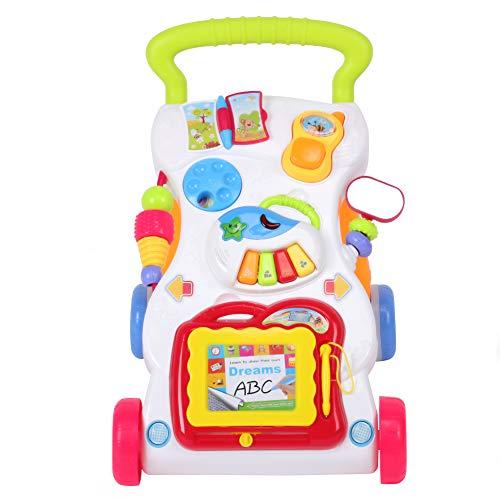 Carrito de bebé Multifuncional, Carrito de Aprendizaje para bebés Primeros Pasos, Juguete con música y Sonidos, 45 x 42 x 34 cm, Multicolor