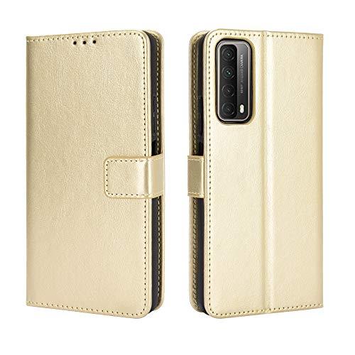 MingMing Lederhülle für Huawei P smart 2021 Hülle, Flip Hülle Schutzhülle Handy mit Kartenfach Stand & Magnet Funktion als Brieftasche, Tasche Cover Etui Handyhülle für Huawei P smart 2021, Golden
