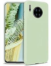 CRABOT Compatible con Huawei Mate 30 Silicona Líquida Caso Cubierta de Goma Anti-caída Resistente a Los Arañazos Carcasa del Teléfono+1*(Protector de Pantalla Gratuito)-Verde