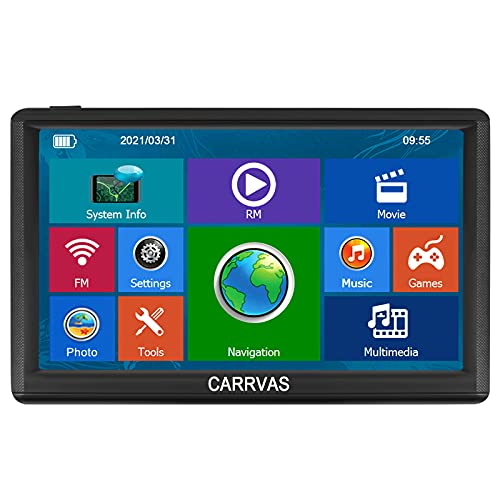 CARRVAS 7inch GPS Navigation for Truck RV Car The 2021 Latest Map Touch Screen Truck GPS Satellite Navigation,Poi and Speed Camera Warning with Voice Guidance Free Lifetime Map Updates