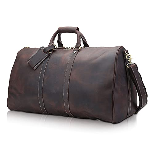 Polare 23'' Full Grain Leather Travel Duffel Weekender Bag Overnight Duffle Bag For Men