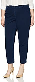 RUBY RD. womens Plus Size Fly Front Knitted Indigo Twill Pant Casual Pants