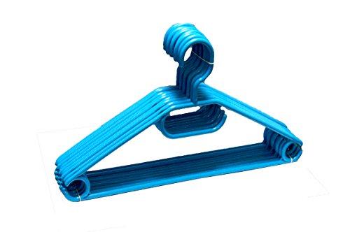 DIES&DAS 10-100 STK. (10) frei wählbar Centi Kleiderbügel Stabile Kunststoff Bügel in Blau Anti Rutsch Rillen 360 Grad und Krawattenhalter Hosensteg