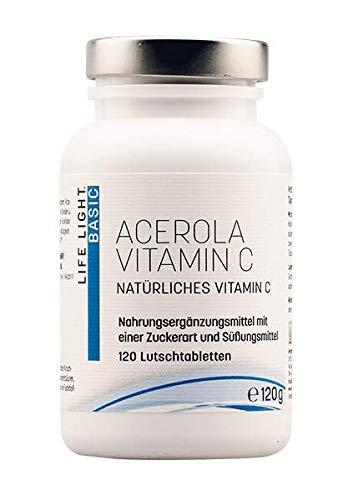 LIFE LIGHT Acerola Vitamin C (Nahrungsergänzungsmittel mit natürlichem Vitamin C,120 Lutschtabletten)